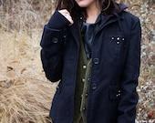 Black Hoodie / Layered Black Post Apocalyptic Jacket