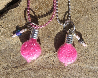 Hot Pink Pixie Dust Necklace, Tiny Glass Bottle Necklace, Pixie Dust Chain Necklace, Party Favor Necklace