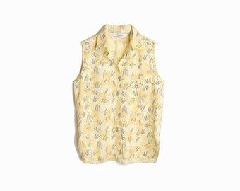 sale! 50% off - Vintage Diane Von Furstenberg Top / 90s DVF Top in Pale Yellow Print / Back To School - women's large