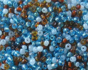 Glass Seed Beads, 6/0 E Beads, Loose Lot, Necklace Design,  Chocolate Blue,  Jewelry Design, Craft Supplies, Jewelry Making Beads