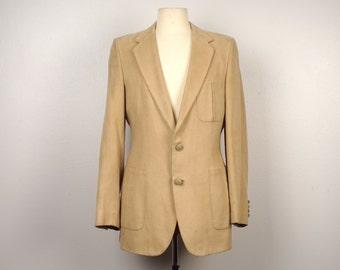 40 long 70s vintage Lanvin ultra suede jacket Western detail tan sports coat blazer 42