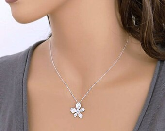 Silver flower necklace, dainty necklace, sterling silver chain, Bridesmaid wedding gift Everyday jewelry by balance9