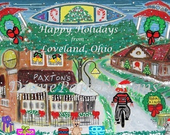 NEW!! Happy Holidays from Loveland, Ohio Blank Note Card - Small Town America, Biking, Family and Dog Friendly,Christmas,Loveland Bike Trail