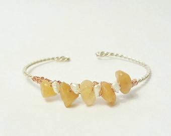 Red Aventurine & Freshwater Pearl Sterling Silver Cuff Bracelet