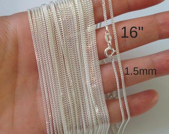 """16"""" Sterling silver chain - beveled curb chain 1.5mmx0.7mm VCSC16X15X7"""
