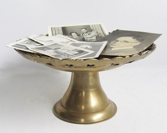 "Vintage Solid Brass Serving Stand - Fruit Stand - Cake Stand ""So Many Possibilities"""