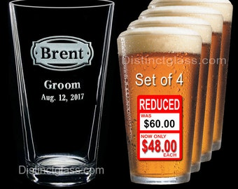 Groomsman - Best Man - Groom - Set of 4 Personalized Etched PINT BEER GLASS - Ships to Canada