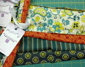 """Chicopee by Denyse Schmidt Quilts 8 fabric 10"""" squares Quiltsy team Destash 2 sets of 4 squares"""