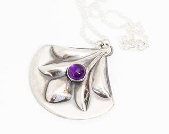 Amethyst Sterling Silver Swag Necklace Handcrafted Feure de Lis