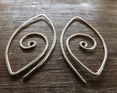 Spiral Sterling Silver Earrings, Handmade Large Spiral Earrings, Modern Spiral Earrings on Etsy.