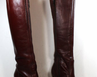 Vintage riding heels women maroon burdundy pixie Leather fashion boots pirate 6.5 M B