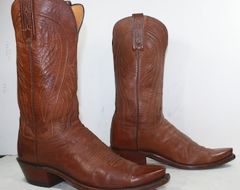 Vintage burgundy brown low heel cowboy Lucchese supple Leather fashion boots western 9 B womens