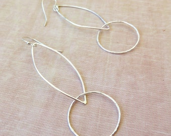 Sterling Hammered Hoop Earrings - Long Dangly Earrings - Sterling Double Hoop Earrings - Valentines Day Gift Idea for Her