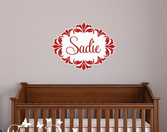Wall Decal, Custom Name,  Reusable Fabric Decal,  Damask Frame wall decal, Removable, reusable and repositionable fabric wall decal