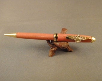USN - Officer - Naval Aviator Pen Clip - Designer Pen - Pink Ivory Wood