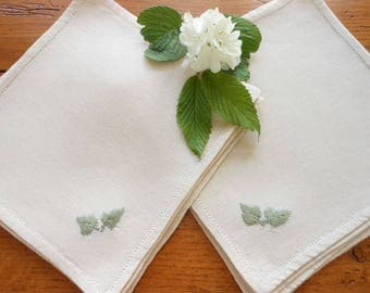 Set of 10 Vintage Unused Hand Embroidered Coasters Or Small Napkins