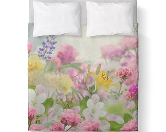 Spring time floral Duvet Cover/ Bedding/ Comforter Cover/ Twin, Queen, King/ Made To Order/ flowers pink white blossoms
