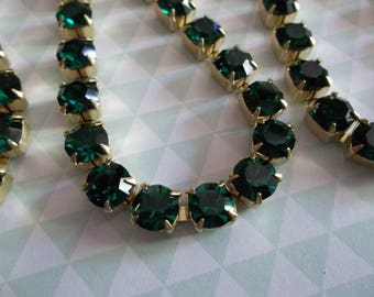 6mm Emerald Green Rhinestone Chain - Brass Setting - Czech Crystals - Large Crystal Size 29SS