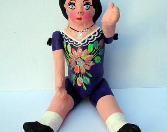 folk art doll paper mache mexican doll