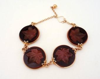 Vintage Intaglio Leaf Bracelet