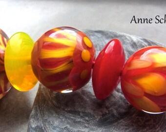 Summer Mix - Handmade Lampwork Bead Set (7) by Anne Schelling, SRA