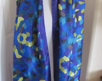 """Lovely Blue Colorful Soft SIlk Scarf Wrap - 24"""" x 72"""" Long"""