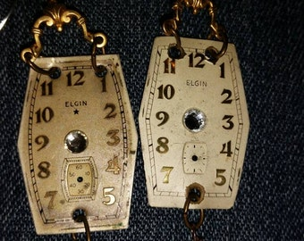 vintage watch face on sterling hook earrings with pearls