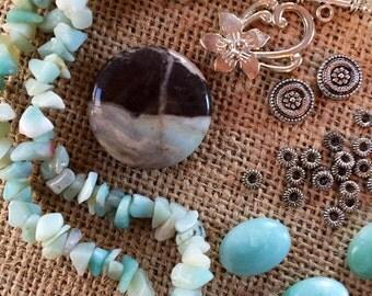 Amazonite Black Tourmaline Pendant Amazonite Chips Beak Kit DIY Necklace Beads a Plenty™