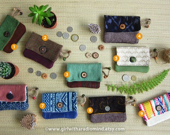 Coin Purse Card Holder - Assorted Design -  Boho, Folk, Whimsical, Cute, Gypsy, Tribal, Asian, Hippie, Navajo, Retro - PICK YOUR FAVORITE