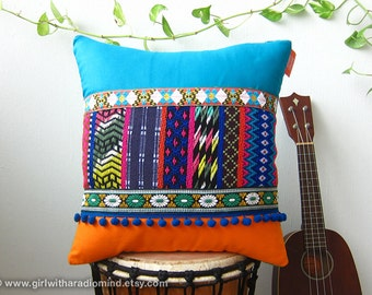 Decorative Throw Pillow - Orange Turquoise Blue Colorful Mexican Cushion Cover