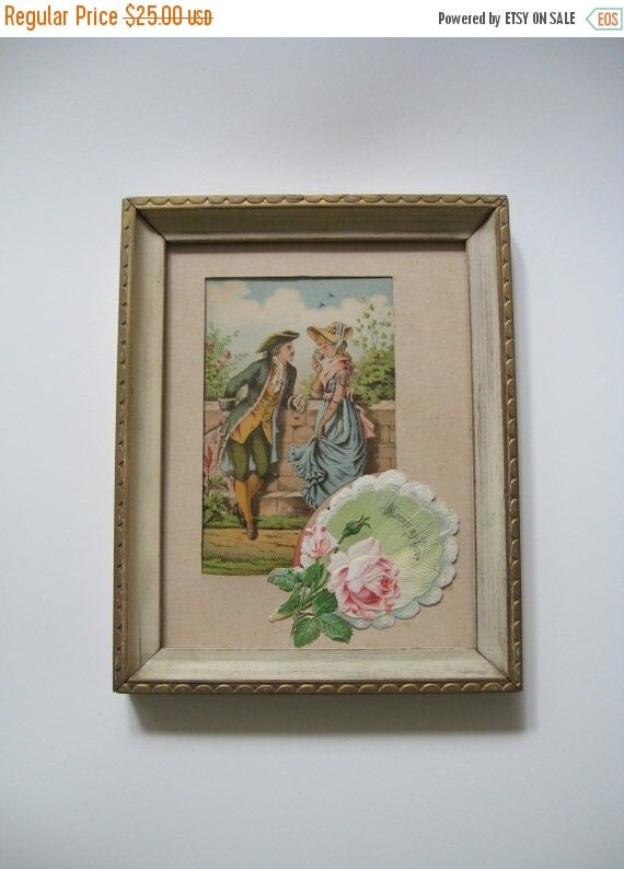ON SALE Vintage Framed Advertising Card Advertisement  Lovasso Field Victorian Couple Accept My Love Greeting Card Pink Roses Collectible