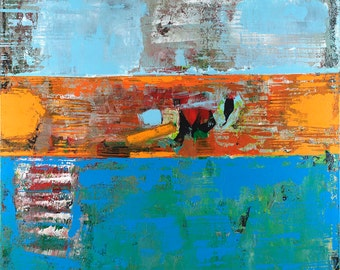 Alligator Abstract Art Print Giclée Canvas Blue Orange Gallery Wrapped Contemporary Artwork