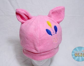 Bright Pink Pinkie Pie Cutie Mark with Ears Embroidered Fleece Beanie - Adult
