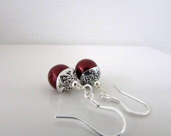 Acorn Earrings, Bordeaux Earrings, Birthstone Earrings, Swarovski Earrings, Birthday, Free US Shipping