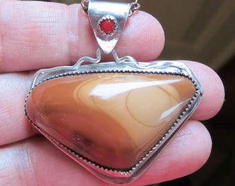 Native American Inspired Bruneau Jasper and Red Coral Sterling Silver Pendant