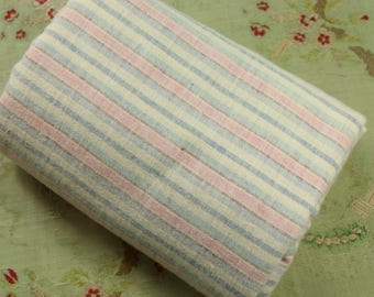 """3.25 yards 1930s Vintage flannel striped fabric material 36"""" wide dolls pastel shades depression era pink blue"""