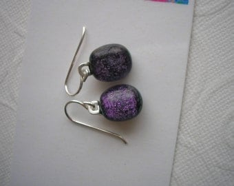 Earrings Petite Dark Purple Sparkle Dichroic Fused Glass .925 Sterling Silver Little Dangles Lightweight Small Jewelry Kiln Fired Homemade