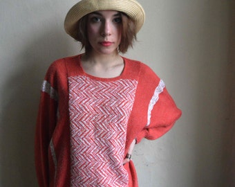 Salmon Pink orange wool handmade batwing sweater White geometric jumper size M L