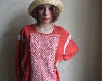 Salmon Pink orange wool handmade batwing sweater White geometric jumper size M L