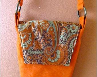 Rebecca #11  Orange Ultra Suede Bag, Paisley Purse, Cross Body Purse, Cross Body Bag, Shoulder Bag, Shoulder Purse, Purses, Bags, Orange Bag