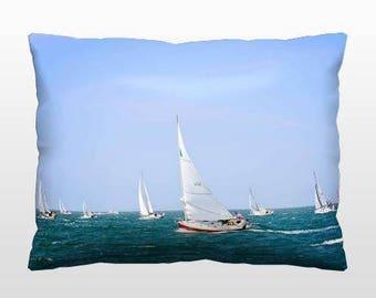 Nautical Pillows, Sailboat Pillow, Coastal Throw Pillow, 12x16 Photo Pillow, Blue & White Decor, Living Room Accents, Coastal Bedroom Decor