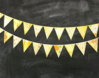 Yellow Bunting Banner - Flags Made From Vintage Sheets - For Baby Showers, Nursery Decor, Birthday Parties, Weddings