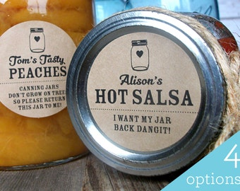 Kraft Return Jar canning labels, custom mason jar stickers will help you get your empty mason jars back! Customized label with YOUR name