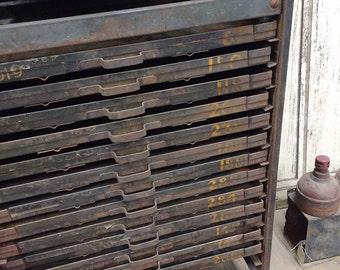 Printer's Block Cabinet; Antique Printer Cabinet; Vintage Industrial Cabinet; Vintage Industrial Printer Block Cabinet