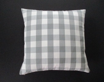 Pillow Cover Buffalo Check Woven Plaid Grey & White Both Sides Zipper