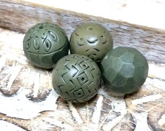 Olive Green Bead set for jewelry making, Polymer Clay Beads, Artisan Beads, Organic, Rustic Clay Beads, Carved, Hand Textured Green Beads