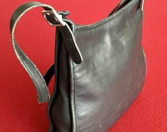 Cool Black Leather Vintage COACH Shoulder Bag