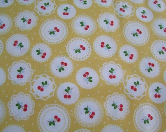 Yellow Doily Fabric by the Yard Sew Cherry 2  Lori Holt