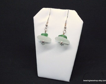 Sterling Sea Glass Earrings - Lake Erie Beach Glass Earrings - Pierced Earrings - FREE Shipping inside the United States