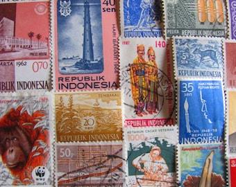 Javanese Please 50 Vintage Indonesian Postage Stamps Republic of Indonesia Jakarta East Indies Sumatra Southeast Asia Worldwide Philately